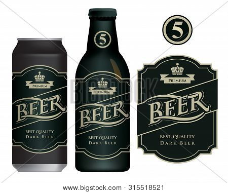 Vector Label For Dark Beer In Retro Style On Black Background, Decorated By Crown And Ribbon. Sample