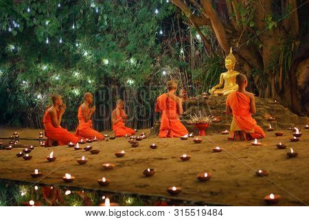 Chiang Mai Thailand - Feb 19 : Makha Bucha Day Is The Important Incidents Buddhist Day. Buddhist Mon