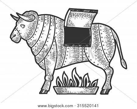 Brazen Bronze Sicilian Bull Medieval Execution Torture Device Sketch Engraving Vector Illustration.