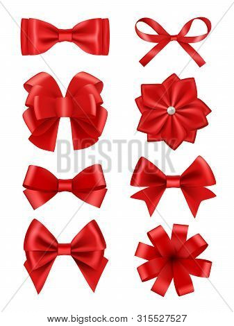 Bow Realistic. Ribbons For Decoration Hair Bow Celebration Party Items Vector Collection. Illustrati