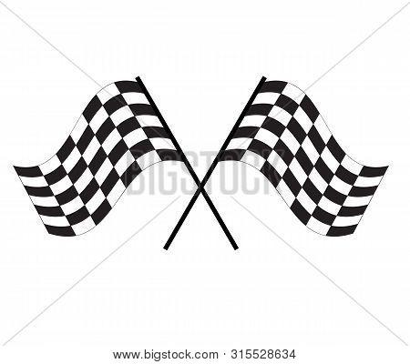 Race Flag Icon On White Background. Finishing Flag Sign. Start Symbol. Racing Flag Icon For Your Web