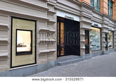 Stockholm, Sweden - August 24, 2018: Chanel Fashion Store At Birger Jarlsgatan, Stockholm. Birger Ja