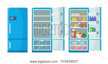 Flat Fridge Vector. Closed And Open Empty Refrigerator. Blue Fridge With Healthy Food, Water, Meet,
