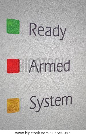 Armed Home Security Alarm System Panel Macro Closeup, Green, Red, Yellow Ready Set Signal Lights