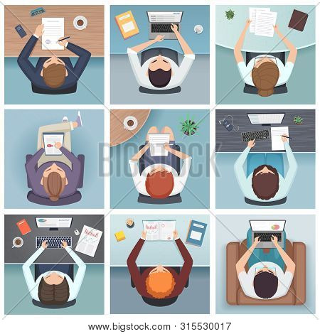 People Top View. Meeting Business Characters Desk Working Space Vector People Top View. Top View Wor