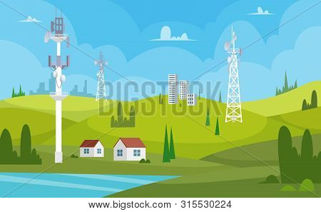 Communication Towers. Wireless Antennas Cellular Wifi Radio Station Broadcasting Internet Channel Re
