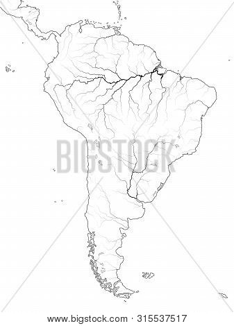 World Map Of South America: Latin America, Argentina, Brazil, Peru, Andes, Cordilleras, Amazon River