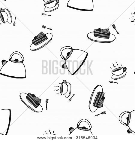 Tea Party, Seamless Pattern Sketch Black And White