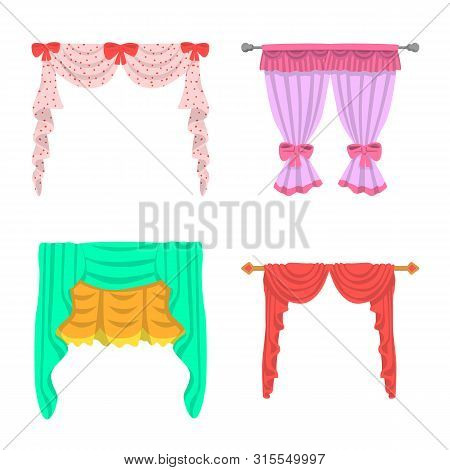 Isolated Object Of Lambrequin And Drapery Icon. Set Of Lambrequin And Decoration Vector Icon For Sto