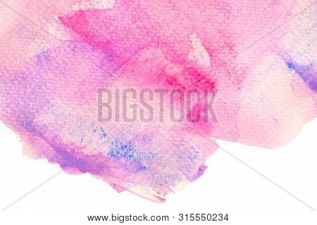 Pink Watercolor Texture Background. The Color Splashing On The Paper. Pink Wash Drawing Brush Stroke