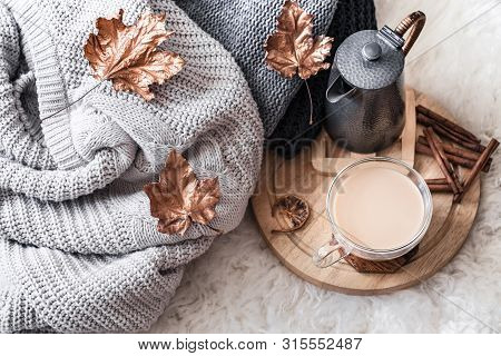 Autumn-winter Cozy Home Still Life With A Cup Of Hot Drink.