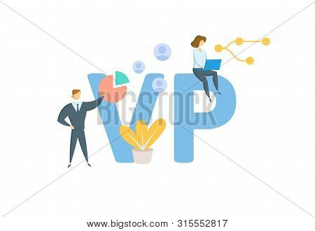 Vp. Vice-president. Concept With People, Letters And Icons. Fflat Vector Illustration. Isolated On W