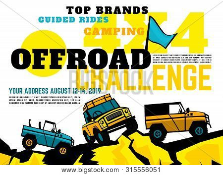 Motorsport Event Poster. Extreme Off-road Adventure. Truck Competition Flyer. Landscape Vector Illus