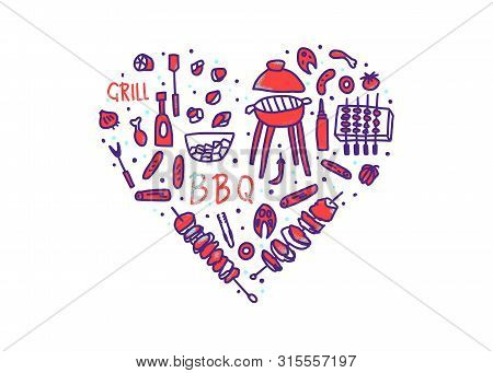 Barbecue Heart Badge With Text And Signs Isolated On White Background. Bbq Set With Handdrawn Letter