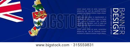 Banner Template With Flag Of Cayman Islands For Advertising Travel, Business And Other. Horizontal W