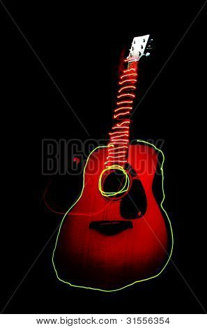 Light painting acoustic guitar