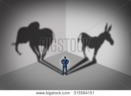 Republican And Democrat Voter Concept As A Symbol Of An American Election Political Identity Campaig