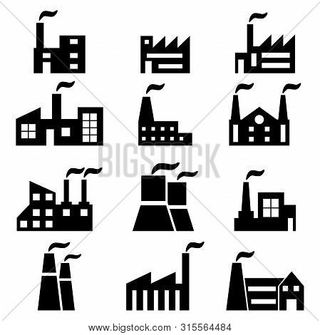 Vector Set Of Industrial Factory Icons On White Background.
