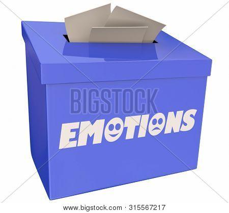 Emotions Suggestion Box Share Feedback Feelings 3d Illustration