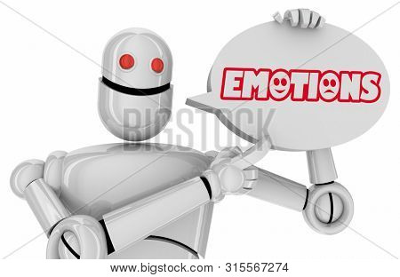Emotions Feelings Robot Speech Bubble Automation AI Words 3d Illustration