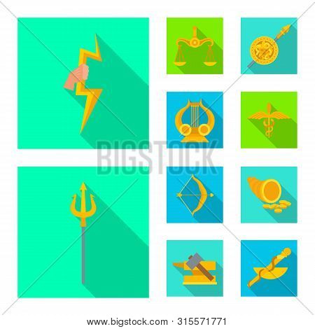 Isolated Object Of Deity And Antique Symbol. Set Of Deity And Myths Vector Icon For Stock.