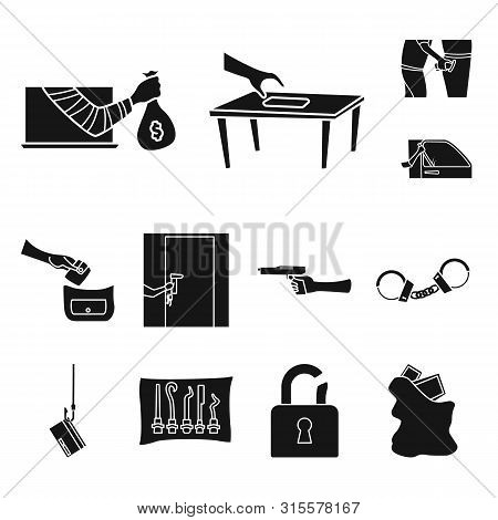Isolated Object Of Robber And Villain Symbol. Set Of Robber And Police Stock Symbol For Web.