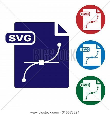 Blue Svg File Document. Download Svg Button Icon Isolated On White Background. Svg File Symbol. Set
