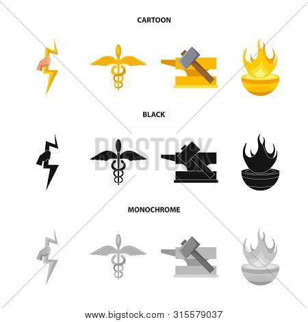 Vector Illustration Of Deity And Antique Logo. Collection Of Deity And Myths Stock Vector Illustrati