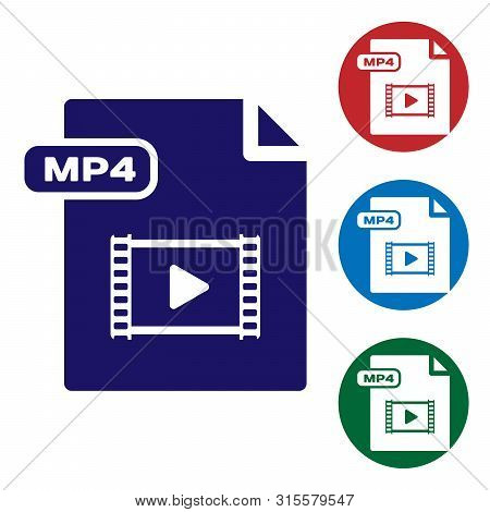 Blue Mp4 File Document. Download Mp4 Button Icon Isolated On White Background. Mp4 File Symbol. Set