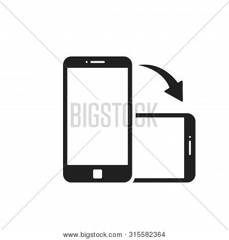 Rotate Smartphone Isolated Icon. Device Rotation Symbol. Mobile Screen Horizontal And Vertical Turn.
