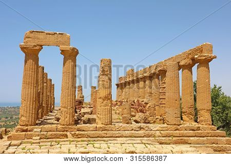 Temple Of Juno (hera) In The Valley Of The Temples, Agrigento, Sicily, Italy