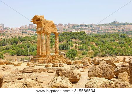 Temple Of Dioscuri (castor And Pollux). Famous Ancient Ruins In Valley Of The Temples, Agrigento, Si