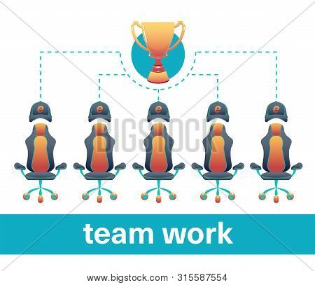 Esports concept infographic for business game, teamwork, competition and victory.  Flat banner with izolated back poster