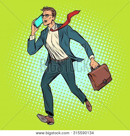 Ceo Businessman With Phone Goes. Pop Art Retro Vector Stock Illustration Drawing