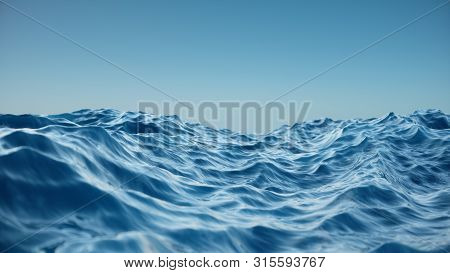Sea Wave Low Angle View. Ocean Water Background. View From Below, View Of A Clear Blue Sky With. Sea