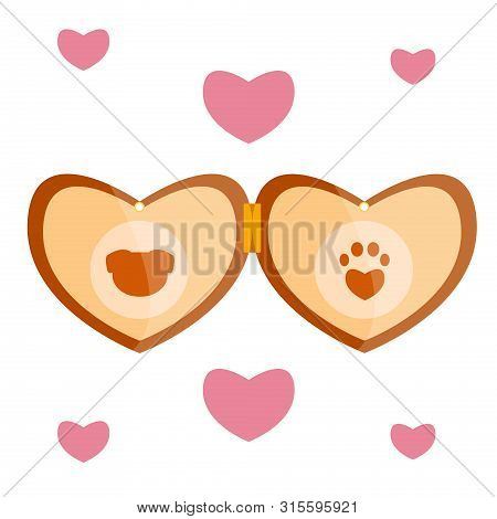 Luxury Retro Vintage Stylized Pet Vet Cat Animal Dog Brown Wood Gold Beige Amulet Medalion Heart Loc
