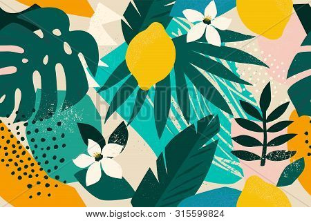 Collage Contemporary Floral Seamless Pattern. Modern Exotic Jungle Fruits And Plants Illustration Ve