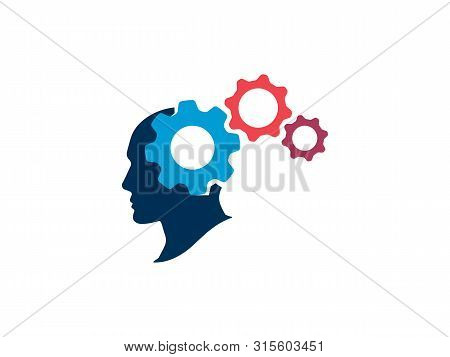 The Process Of Thinking In The Human Head. Silhouette Human Head With Gears. Strategic Thinking And
