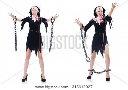 Young beautiful nun with shackles isolated on white poster