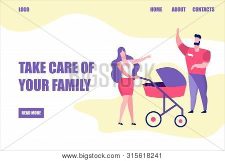 Take Care Of Your Family Banner, Young Woman Walking With Baby Carriage, Girl Greeting Man On Street