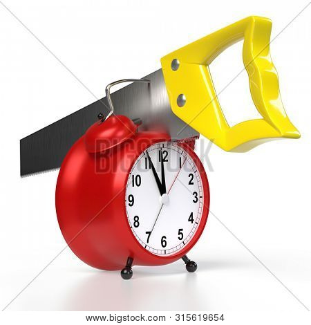 Hacksaw in an alarmclock, isolated on white background. 3D rendering