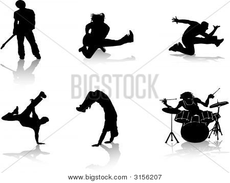 People In Music Silhouettes
