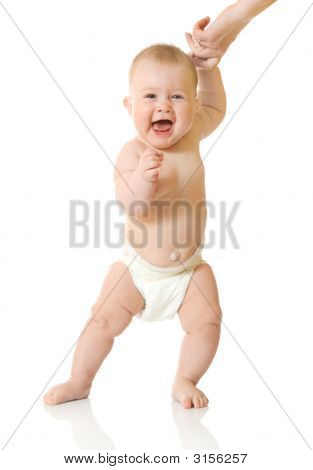 First Steps Of Small Baby Isolated