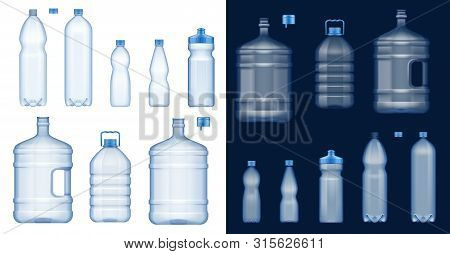 Plastic Water Bottles 3d Vector Mockups. Empty Drink Containers Of Clear Mineral, Carbonated And Sof