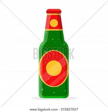 Fresh Cold Damp Humid Closed Bottle Of Beer, Ale, Malt, Suds, Soda In Green, Yellow, Red Glass Of La