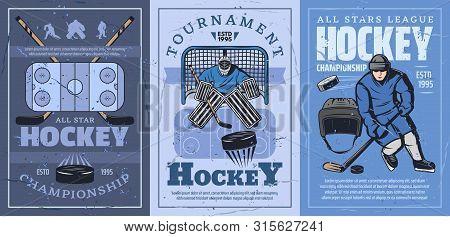 Ice Hockey Sport Championship Vector Design. Hockey Rink, Sticks And Pucks, Team Player And Goalie W