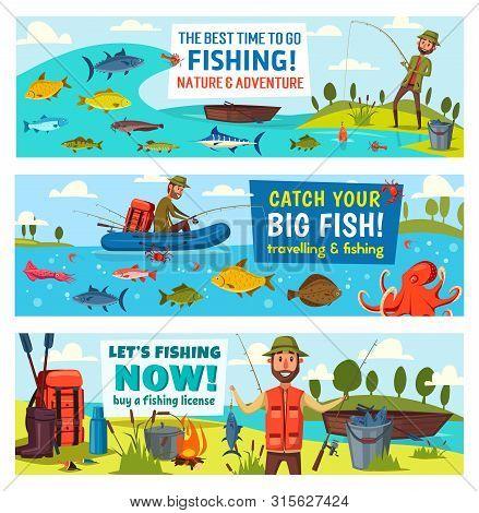 Fishing Sport, Catch Fish And Fisherman Equipment Vector Banners. Fisher And Angler, Fishing Rod, Ne