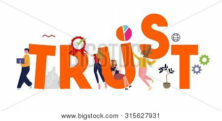 Trust Building Vector Business Concept. Reliance, Sincerity, Competence And Integrity