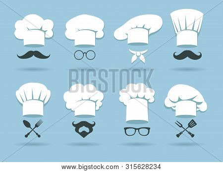 Cook Chef Hat Logo. Flat Culinary Logos Graphics With Chefs Hats And Cooking Accessories, Vector Ill