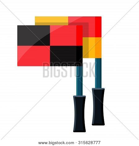 Soccer Football Referee Sports Footsal Flag With Plastic Rubber Handle For Angular Outs, Fouls, Offs